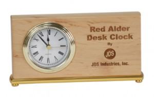 Wood engraved desk clock