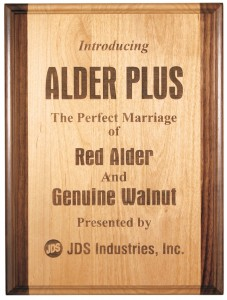 Alder wood laser engraved wood plaque award