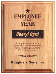 Alderwood engraved plaque award