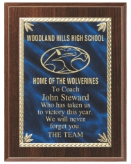 Cherry Finish Plaque, blue engraved plate