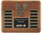 Walnut eagle perpetual plaque engraved award