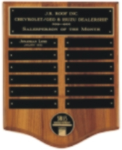 Walnut perpetual plaque engraved award