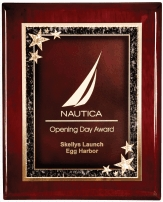 Rosewood laser engraved plaque with star plaque plate award